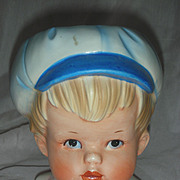 Vintage Boy Head Vase Planter Relpo Headvase