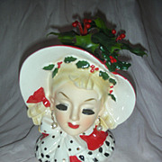 Vintage Rare Inarco 6.5 Inch Holiday Head Vase Headvase Planter
