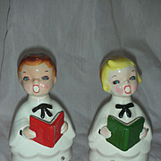 Vintage Mid Century Choir Boys Boyr and Girl Carolers Rhinestone Eyes Christmas Japan Kreiss F