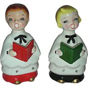 Vintage Mid Century Choir Boys Boyr and Girl Carolers Rhinestone Eyes Christmas Japan Kreiss .