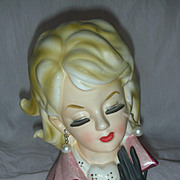 Vintage Lady Head Vase Dressed in Pink Head Vase