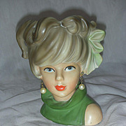 Vintage Caffeco Head Vase planter Lady Headvase