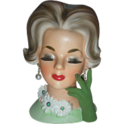 Vintage Enesco Lady Headvase Planter Head Vase