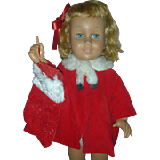 Vintage 1959 Prototype First Issue Mattel Chatty Cathy Doll in Christmas coat