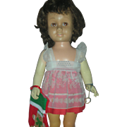 Original Mattel Chatty Cathy Doll Brown Hair and Eyes Wearing Original Dress