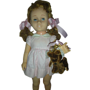 Vintage Soft Face Pigtail Mattel Chatty Cathy Doll in Peppermint Stick Dress