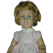 Vintage Early Prototype Mattel Chatty Cathy Doll wearing original peppermint stick dress