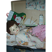 Vintage American Character Tiny Tears Doll with Caracul Wig and Accessories