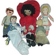 Lot of Vintage Cloth Dolls