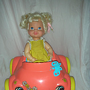 Vintage 1960s Mattel Baby GO Bye Bye in her Bumpety Buggy Car