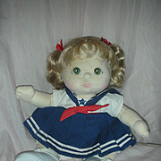 Beautiful Vintage Mattel My Child Doll Blond Pigtail wearing Sailor Dress
