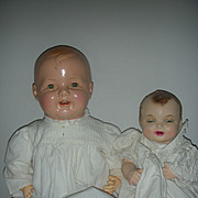 2 Vintage Molded Hair Composition Baby Dolls One Effanbee Doll