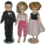 3 Vintage Vogue Dolls Jill Jan and Jeff Wearing Original Clothes
