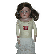 AM 370 German Bisque Head 22 inch Doll with Kid Leather Body from Germany