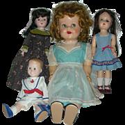 Vintage Lot of Mid Century Hard Plastic Dolls Ideal Saucy Walker, Toni, Madame Alexander Marme