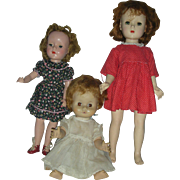 Lot of 3 Vintage Mid Century Dolls 2  Madame Alexander Hard Plastic and Vinyl Drink and Wet Do