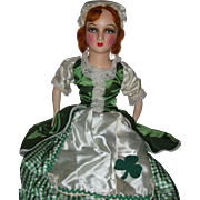 Rare St Patrick's Irish Boudoir Bed Doll Red Hair Shamrock Dress 32 inches Long ...