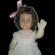 Vintage Brunette Mattel 1960s Chatty Cathy Doll Wearing Original Peppermint Stick Dress