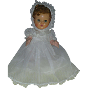 Vintage tiny 10 Inch American Charcter Tiny Tears Doll Wearing Rare Christening Gown and Bonne