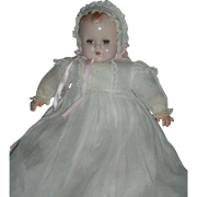 Vintage Madame Alexander Little Baby Genius Doll Small 15 inch Version wearing Tagged Gown