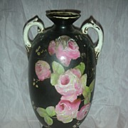 Vintage Black Handpainted Large Rose Vase with Handles