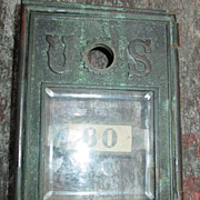 SOLD Cast Brass U.S. Post Office Door Beveled Glass Mail Box Small as is