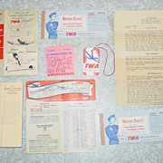 REDUCED Trans World Airlines TWA 1954 Ticket Baggage Claim Check Tags Folders Airplane Travel