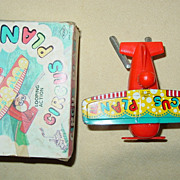 REDUCED Yone Circus Plane Wind Up Toy Yonezawa Made in Japan Tin Plastic Looping Action Box