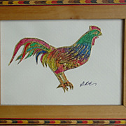 REDUCED Nouveau Byzantine Rooster Batik on Rice Paper  Keigh Earisman Art Framed Wall Plaque