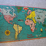 SOLD Pirate and Traveler Game Board 1936 Milton Bradley Part with Instructions No. 4563