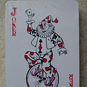 SOLD Playing Cards Joker Circus Clown Riding Bike Unicycle Holding Ace of Spades Deck Sealed