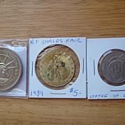 REDUCED Statue of Liberty Coins 1939  World's Fair Centennial 1986 good luck Souvenir Token