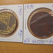 New York World's Fair Coin George Washington  Inauguration 1939 Peace Freedom 1940 Medal