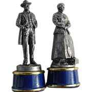 REDUCED Franklin Mint Ulysses S. Grant Clara Barton Civil War Chess Pewter King Queen Game Pie