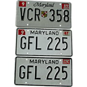 REDUCED Maryland License Plates Matching Pair GFL-225 1986 1987 & VCR-358 1989 Automobile