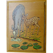 Deer Drinking with Baby Wood Burning Plaque Hand Painted Art Wall Hanging E.Culver 1991