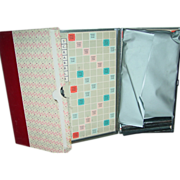 SOLD Travel Scrabble Game 1954 Magnetic Tiles Metal Board in Slip Book Case as is
