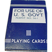 Military WWII Streamline Playing Cards for use of U.S. Gov't Permit No. 36-1 Arrco Game