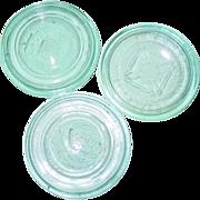 REDUCED Blue Glass Mason Improved Maltese Cross Aqua Canning Jar Lid & 2 Unmarked