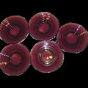 REDUCED Five Hazel Atlas Amethyst Moderntone Glass Saucers
