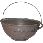 REDUCED Scotch Bowl Cast Iron #4 Kettle Gate Mark Bailed Handle Cooking Pot Fire Heat ...