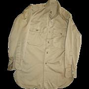 REDUCED Military Shirt Cotton Khaki Vietnam War 1963 Stand Up Collar 13X30 Uniform Long Sleeve
