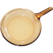 """REDUCED Vision Corning France Amber Glass 10"""" Skillet Frying Pan Waffle Diamond Cooking B"""