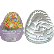 REDUCED Wilton Party Pan Easter Basket Cake 1980  Aluminum 502-1727 Mold Eggs Bow Insert