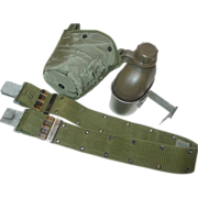 REDUCED Military Vietnam War 1965 Canteen Cup with 1984 Nylon Web Belt Size Medium Equipment