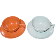 Color Flyte Melmac Cup Saucer Set Branchell St Louis Mo. Orange Gray Coffee Tea Dish