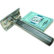 REDUCED Gillette Razor 3 Piece 1930s Non-Adjustable Tech Nickel Plated Safety Shaving