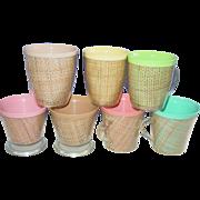 Burlap Straw Weave Raffiaware Raffia Ware Tumblers Desert Bowls & Cups Melmac