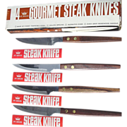 St. Regis Gourmet Steak Knives Set of 4 in Box Rosewood Handle Serrated Blade Japan