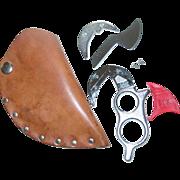 SOLD Wyoming Knife Hunting Field Dressing Skinning Fishing Aluminum Handle Leather Sheath